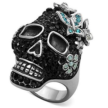 WildKlass Stainless Steel Skull Ring High Polished (no Plating) Women Top Grade Crystal Multi Color