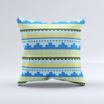 Blue Gold Tribal Ethic Geometric Pattern Ink-Fuzed Decorative Throw Pillow