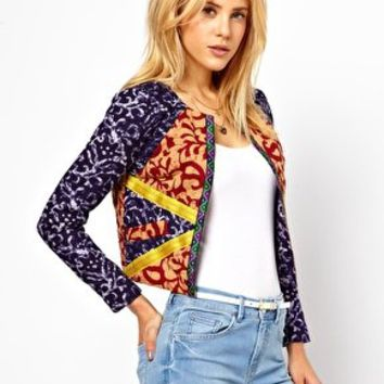 ASOS Jacket in Mix Print with Tape Detail