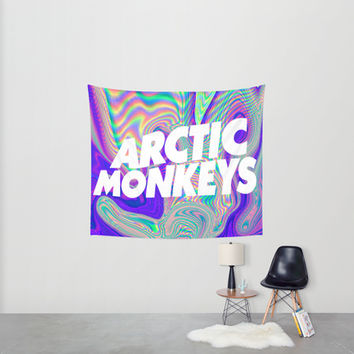 Psychedelic Arctic Monkeys Logo Wall Tapestry by Julia