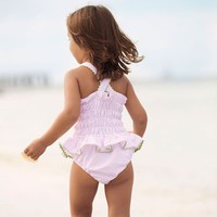 Skirted One Piece in Pink with Green Trim by Bella Bliss