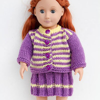 Purple Hand Knit Set for 18 Inch Fashion Doll, Handmade Striped Sweater and Skirt in Purple and Yellow, Hand Knitted Doll Clothes