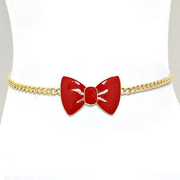 Enamel Bow Accented Metal Chain Belt