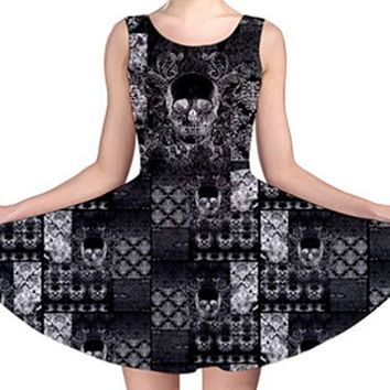 Quilted Damask Skull Print Skater Dress