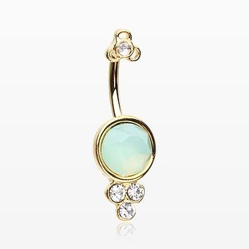 Golden Victorian Opalite Sparkle Belly Button Ring