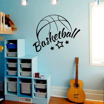 Wall Decal Quote Sport Basketball Game Ball Star Art Design Wall Decals Boy Room Playroom Gym Living Room Sticker Window Home Decor 3928