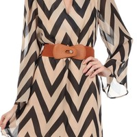 Chevron Taupe and Black Dress with Brown Belt