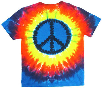 90s Tie Dye T-shirt / Peace sign T-shirt / Hippy T-shirt / club kid t-shirt