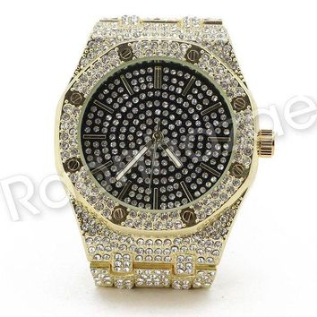 ONETOW Men Iced Out Offset 14K Gold Silver PT Hip Hop Luxury Black Octagon Watch F16GS