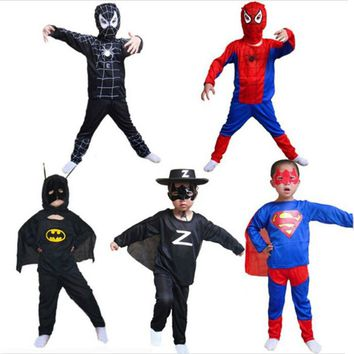 Red spiderman Anime black Children's Sets batman superman halloween Toys for kids superhero capes anime cosplay carnival costume