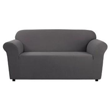 Stretch Leaf Loveseat Slipcover Gray - Sure Fit