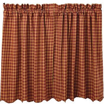 """Burgundy Check Tier Curtains 36"""""""