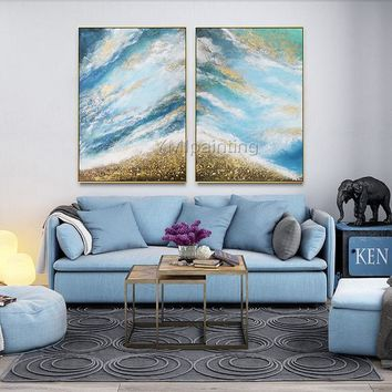 Oil original 2 pieces Gold abstract Painting on Canvas Gold and blue wall painting for living room large wall art quadro cuadros abstractos