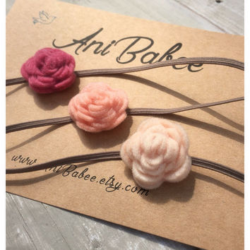 Coral Felt Flower Headband, Baby Headband Set, Peach Flower Headband, Felt Flowers, Cream Flower Headband