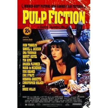 Pulp Fiction Movie poster Metal Sign Wall Art 8in x 12in