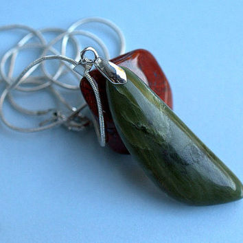 Green Jade pendant BC nephrite jade free form with silver plated bail and necklace