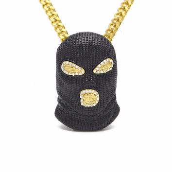Hip Hop Black Plated Mask Head Charm Pendant With Cuban Chain