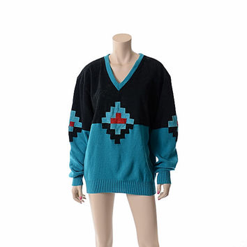 Vintage 80s Southwestern Suede Leather Sweater 1980s Pioneer Wear Indian Turquoise Knit Black Suede Boho / Medium / Large