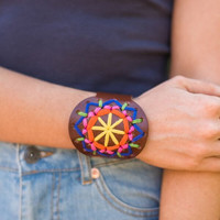 Mexicali Tapestry Leather Cuff Bracelets