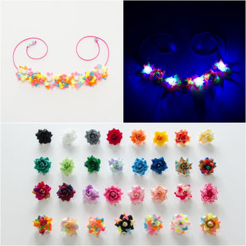 Customizable LED Rose Flower Crown, Flower Headband, Coachella Crown, Electric Daisy Carnival, Escape Music Festival, Fun Fun Fun Fest, PLUR