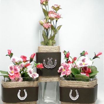 Western Centerpiece, Rustic glass decor, Glass bud vase and candle holders, western concho trim,