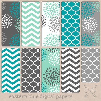 Eastern Blue Grey and Turquoise Digital paper pack.Teal Quatrefoil Chevron and modern flowers for scrapbooking paper crafts backgrounds etc.