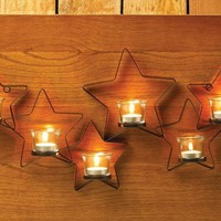 Rustic Iron Stars Candle Wall Sconce | FREE LED Candle Lights