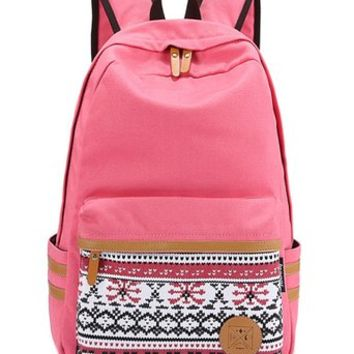 Leaper Casual Style Lightweight Canvas Laptop Bag/Cute backpacks/ Shoulder Bag/ School Backpack/ Travel Bag (Pink)