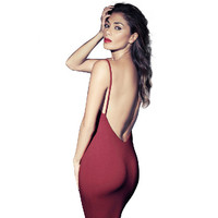 Party Sexy Red Spaghetti Strap Backless Bodycon Dress