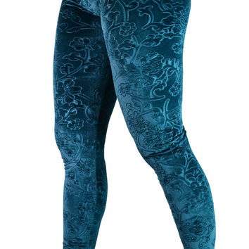 Teal Embossed Floral Leggings Design 117