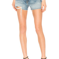 GRLFRND Helena High-Rise Straight Leg Cut Off Short in Rain Drop