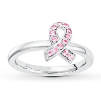 Stackable Ring Lab-Created Pink Sapphire Sterling Silver