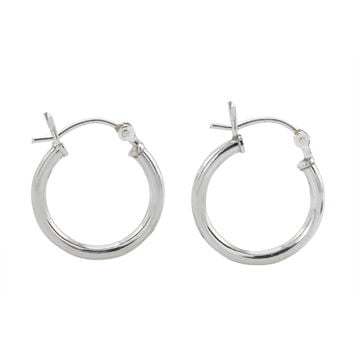 Sterling Silver Hoop Earrings High Polish Latch Closure 16mm