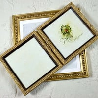 5x5 or 4x6 inch Pale Gold Hinged Double Frame/Anniversary/Wedding/Office/Desktop Square Instagram Double Photo Frame 5x5 inches