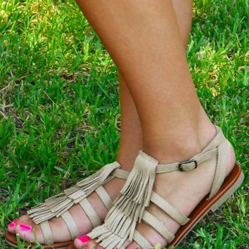 Sneaking Around Town Sandals: Taupe