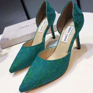 Jimmy Choo 2018 summer new hollow lace shoes pointed high-heeled shoes F-OMDP-GD green