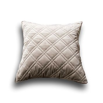 """DaDa Bedding Set of Two Taupe Grey Velvet Quilted Throw Pillow Covers, 18"""" x 18"""",  2-PCS (JHW831)"""