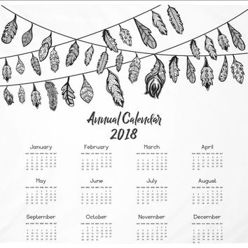 Reiki Charged Large Calendar Tapestry Black and White Design 2018 Annual Calendar