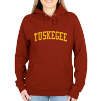 Tuskegee Golden Tigers Ladies Basic Arch Pullover Hoodie - Crimson