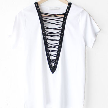 Ribbed Knit Lace Up Deep V-neck Top