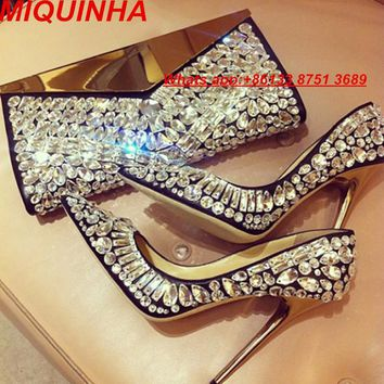 Pointed Toe Rhinestone Stiletto Heels Beaded Glitter Slip-on Female Crystal High Heels Bridal Wedding Shoes Pumps Spring Woman