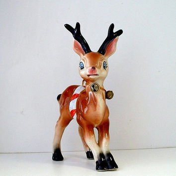 Vintage Christmas Reindeer Figurine Ceramic Deer Decor Christmas Decoration 1960s Japan Repaired
