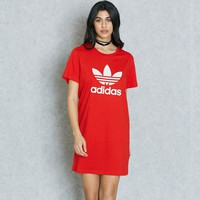ADIDAS Women Fashion Heart Print Short Sleeve Mini Dress