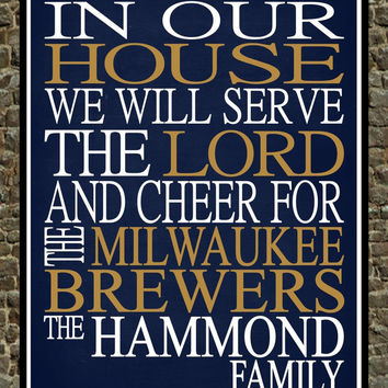Customized Name Milwaukee Brewers MLB Baseball personalized family print poster Christian gift sports wall art - multiple sizes