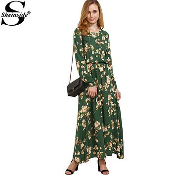 Sheinside Green Blossom Print Buttoned Front Bohemian Long Dress Autumn New Style Women Round Neck Long Sleeve Maxi Dress