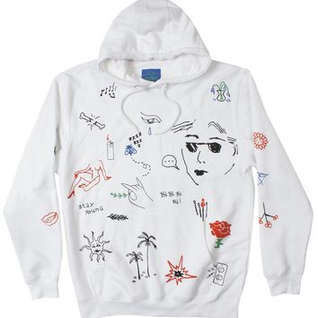 Stick N Poke Art Graphic Hoodie Mens White Pullover by Altru Apparel