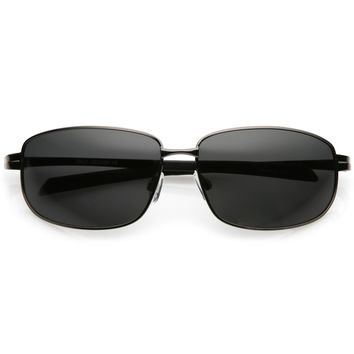 Wrap Around Rectangle Sunglasses With Polarized Lens Rubberized Arm Tip 63mm