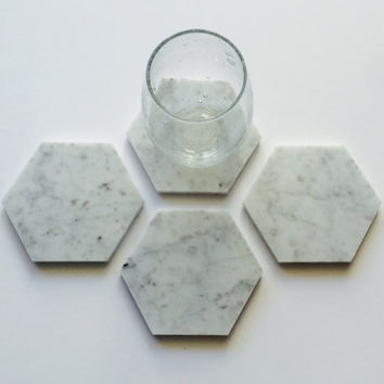 Carrara Marble Hexagon Coasters