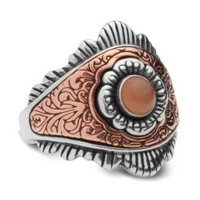 RARE Vintage Carolyn Pollack Peach Moonstone Sterling Silver & Copper Ring