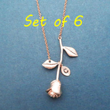 Set of 6, Vertical rose, Personalized, Initial, Rose, Flower, Gold, Silver, Rose gold, Necklace, Birthday, Wedding, Friendship, Jewelry